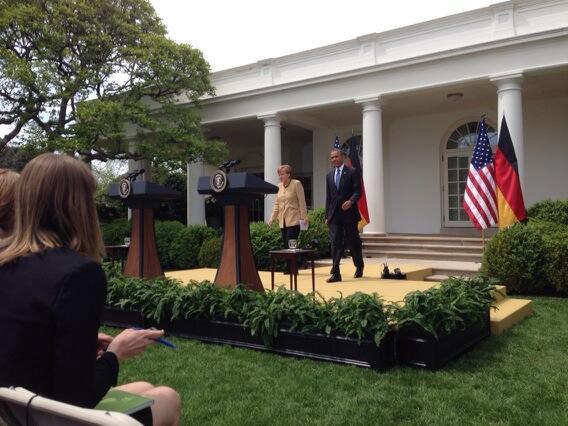 Obama and Merkel in the Rose Garden# http://t.co/sMVS2wvLLq