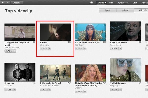 Sirens video is #2 on iTunes in ITALY now!!! LOOK! @CherLloyd @dabbel2 @Savan_Kotecha @Epic_Records http://t.co/0GGgTwZKNz