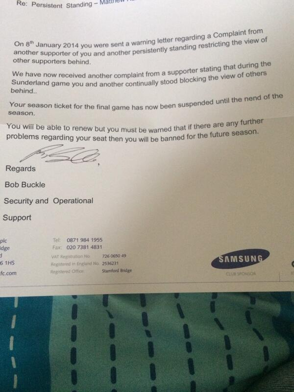 Chelsea fan banned from attending last game of the season for persistent standing [Formal Letter]
