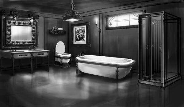 """Sarah Holding on Twitter: """"Fabulous room view concept art from The Sims 3 Pets featuring a Gothic Americana Bathroom. 1/5 http://t.co/2iqdFUW3Hx"""""""