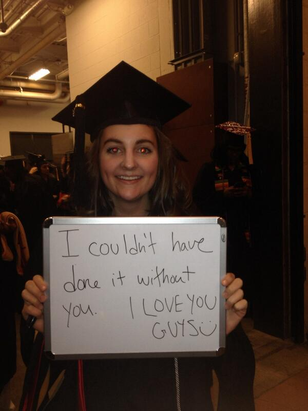 "Messages from graduates for family+friends: ""I couldn't have done it w/o you!"" #csweor http://t.co/g2SniAXyG7"