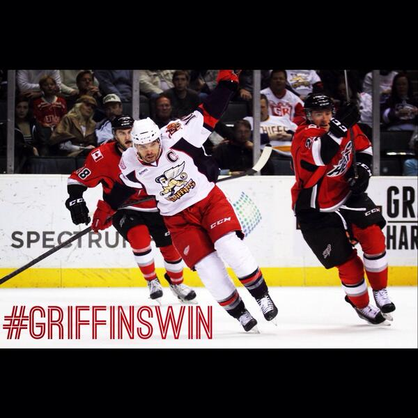 The Griffins defeated the Heat 5-3 tonight to advance to the next round of the playoffs! #DefendTheCup http://t.co/vqyAEQEpdO