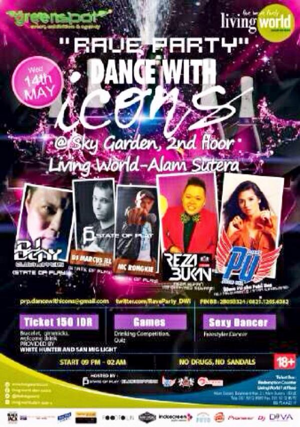DANCE WITH ICONS @TheLivingWorld 14.05.14 w/ @unaputri @rezabukanasli @denyswidjaja @DjMarcusiLL @Rongkie_kaurong   http://t.co/TWsTeJiZnN