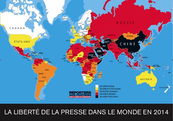 Journée mondiale pour la liberté de la presse. Voici la carte de la liberté de la presse 2014 de #RSF http://t.co/anAqifyiK6