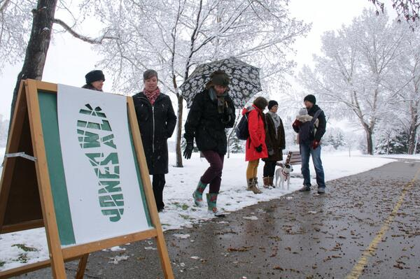 #janeswalkyyc near Confederation Park. We were frolicking in the spring snow! @janeswalk #community #yyc http://t.co/usiNAk1kcE