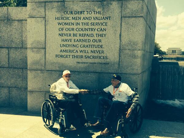 Last WWII Honor Flight from AR landed in DC today. Grateful these veterans get to see the memorial dedicated to them. http://t.co/F0SQ2N7l6D