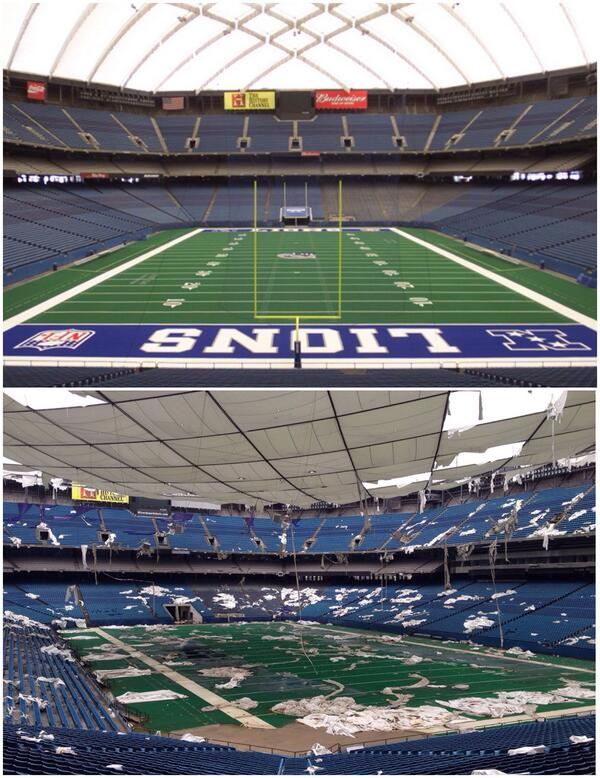 Remember watching the Lions at the Silverdome? The bottom photo, taken today by @freep's @ericseals, is sad to see. http://t.co/CeVHdWhdvi