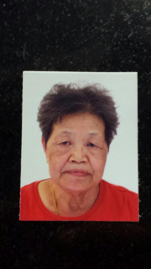 70-year-old Chinese woman is missing since 03/05/2014 @ 0530hrs. Last seen at Blk 489A Tampines ST 45. http://t.co/A4ZSczOMJd