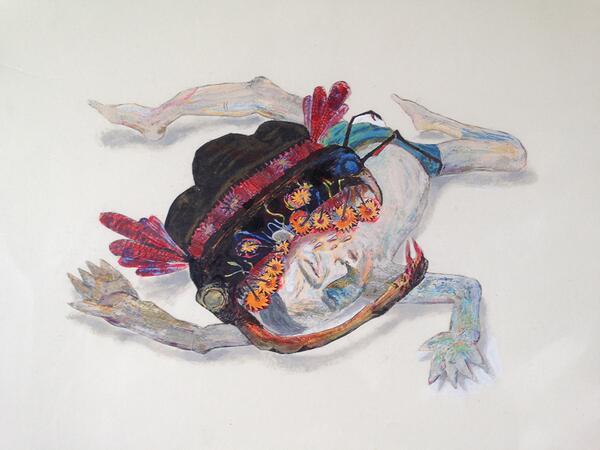 引越の準備をしていたら、石田徹也画伯が学生時代に書いたと思われる絵が、妻の荷物から出てきた。妻も学生時代の同級生で、もらった記憶があるらしい。今まで出版された画集には載っていない作品。 http://t.co/PbdQRaTNnY