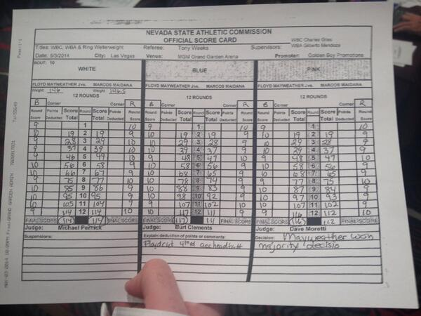 Scorecards from @FloydMayweather and @ChinoMaidana #TheMoment http://t.co/IeI6FbsmTh