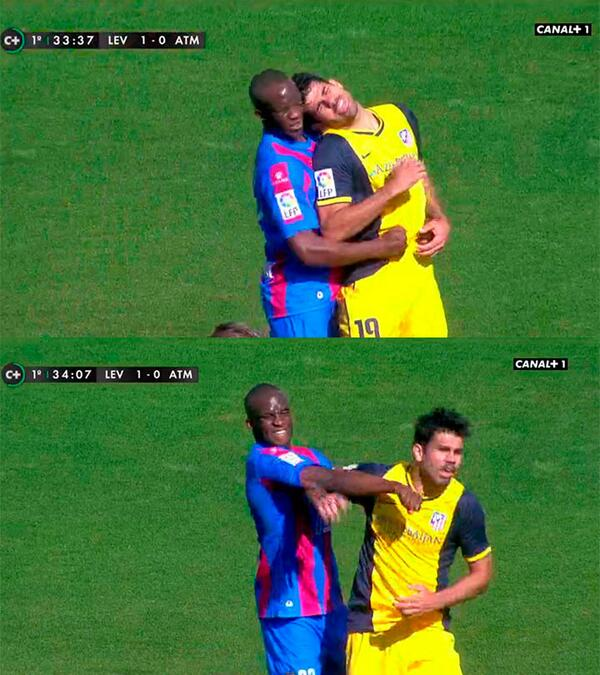 Atletico Madrids Diego Costa up to his old tricks, headbutting Levantes Momo Sissoko [Vine]