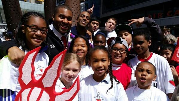 These young kids were surprised w/ Game 7 tickets this AM by @ctjumpstart. Scarborough Basketball great grassroots! http://t.co/0y3tx8PhKs