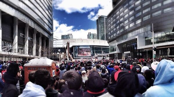 Another look at the overflow crowd MT @jvrCTV: #Raptors fans outside ACC watching game 7 on big screen. #RTZ http://t.co/1mGlo2nbAo