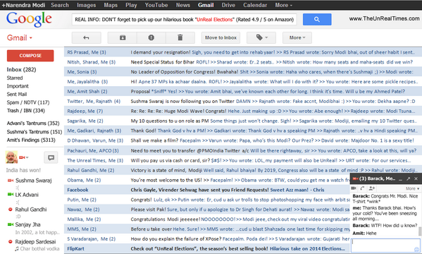 LEAKED: Gmail Inbox of Narendra Modi (via @vbadal @TheUnRealTimes @ashwinskumar) http://t.co/qIXMNtOG4i || This is fun!