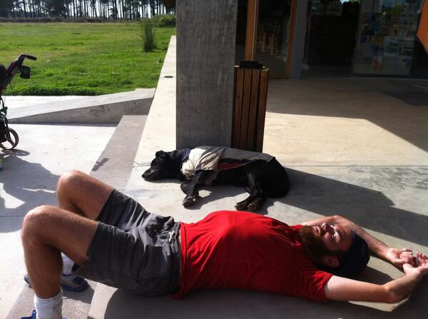 Jefferson & Burnsy taking a well earned nap after walking 34km in the red hot sun! Donate here http://t.co/pK003tGUTS http://t.co/PoS6FGIUrB
