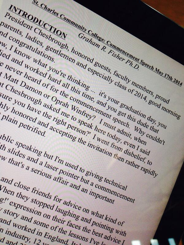 Following along the words of @SCC_StCharlesCC commencement speaker Dr. Graham Fisher. #sccgrads http://t.co/Tj8hw4vt7o