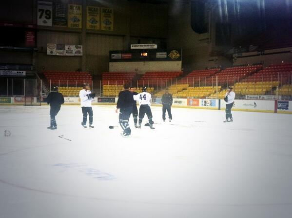 """PIC: """"Chet & The Boys"""" with a """"line brawl"""" during an optional morning skate. No word on suspensions. 