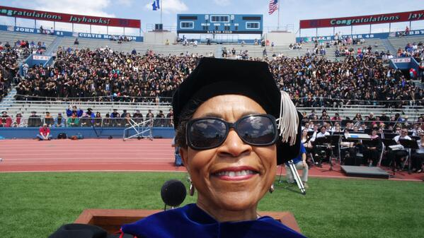 The KU Chancellor's #selfie turned out great! #RockChalk and congratulations to the 2014 #KUgrads. http://t.co/UnUEf1tmM1