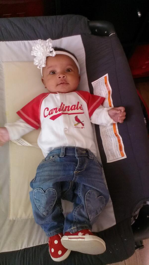 Someone is ready for her 1st @Cardinals  game. #newmom #adoption #stlcards #12in14 http://t.co/nHCwcPMetA