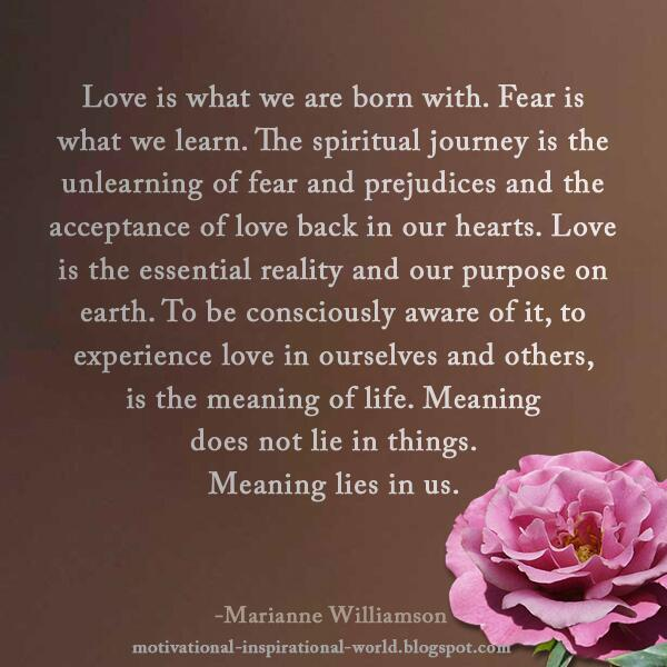 "Marianne Williamson Love Quotes Brilliant Roy Tbennett On Twitter ""love Is What We Are Born Withfear Is"