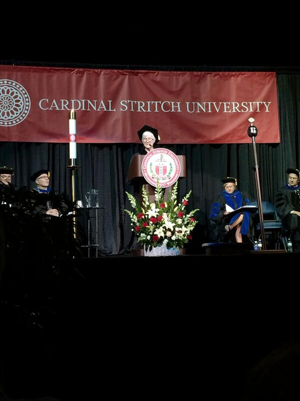 Mary Flynn, the #stritch14 Commencement speaker, offers her charge to the graduates. http://t.co/8PF5jGIlAG