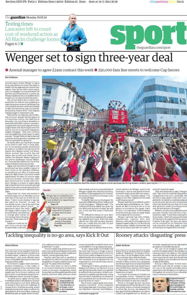 Arsene Wenger set to sign new three year Arsenal deal worth £24 million [The Guardian]