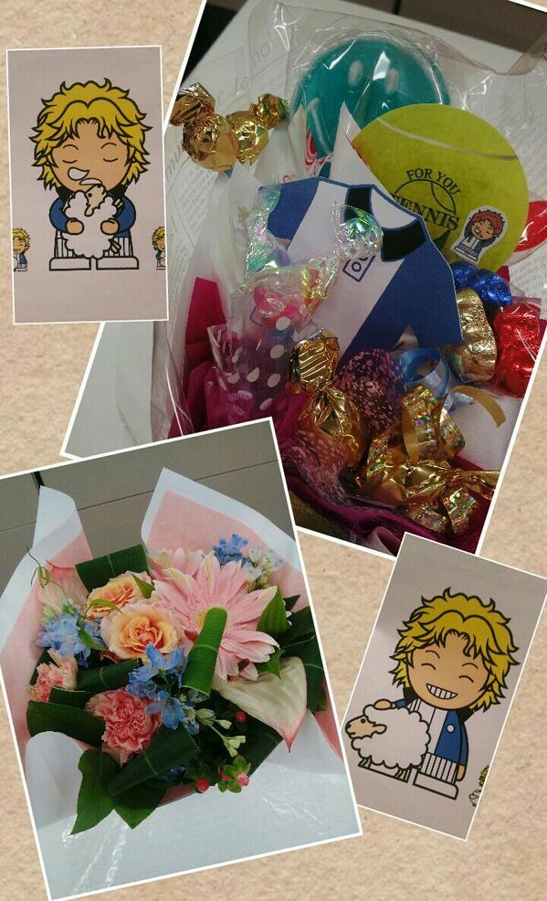 芥川慈郎くんの誕生日にお花やプレゼント贈ってくれた皆ありがとね♪ (∩´ワ`∩).+゜*:・°☆  ブン太くん「ジロくんそれってトランクスだろぃ☆」 ジローくん「……あ」