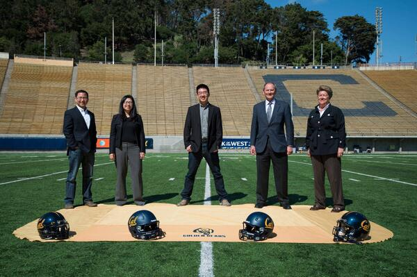 Kabam teams up with @CalAthletics at Memorial Stadium to prep the new Kabam Field logo. Official unveiling tomorrow! http://t.co/TEggeKZA7M