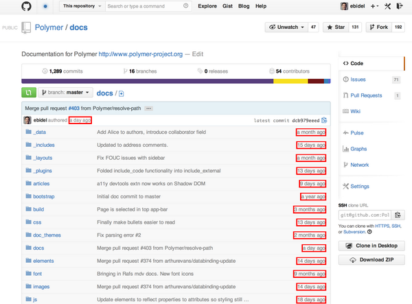 Yay! @github is using web components. All of the timestamps are <local-time> custom elements. http://t.co/E10Ljl1elf