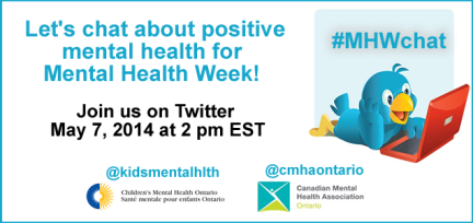 Taking place now is the #MHWchat with @CMHAOntario. Join in the conversation & be sure to use the #MHWChat hashtag! http://t.co/EGZHBPsBoL