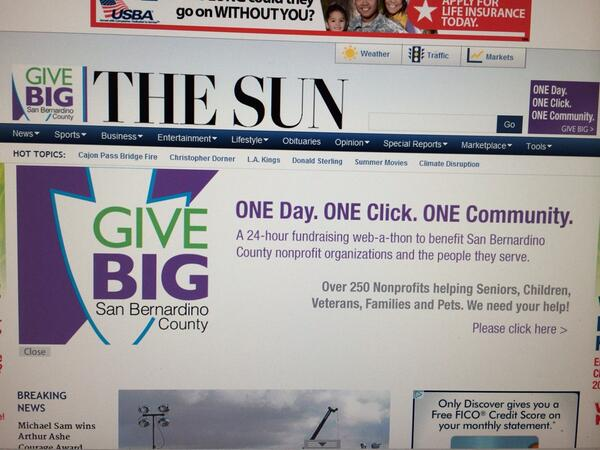 The Sun and Redlands Daily Facts highlighting Give BIG in anticipation of our big day tomorrow! @givebigsbcounty http://t.co/kuZsE4Ch1D