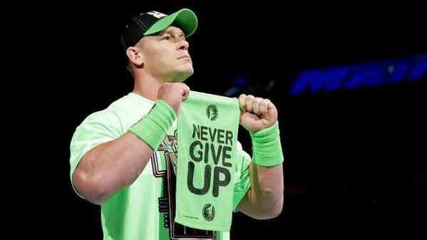 Strong promo from @JohnCena last night on @WWE #MainEvent. The message? #NeverGiveUp. Words to live by. http://t.co/8u4nrkgux4