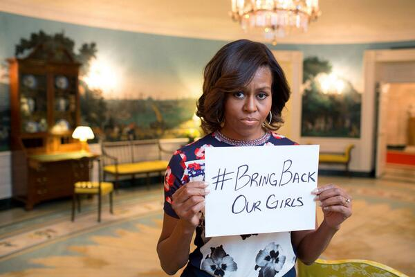 Michelle Obama sad face selfie about Nigerian girls #BringBackOurGirls hashtag