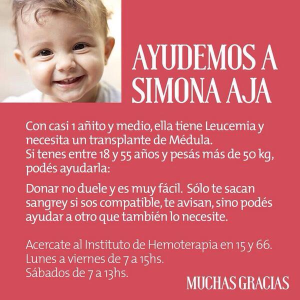 Ayudemos a Simona. Tiene casi 1 añito y medio, ella tiene Leucemia y necesita trasplante de médula ósea RT por favor http://t.co/2oN4ItIusu