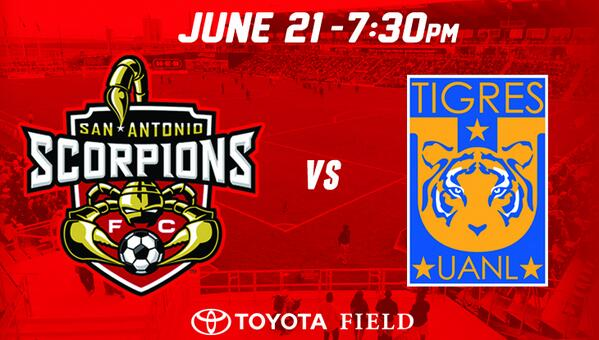 Int'l friendly June 21 at Toyota Field: Scorpions vs @TigresOficial! RT if you are excited about this matchup. http://t.co/5fMZaqbfOo