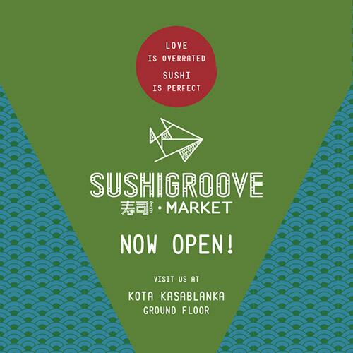 """Love is overrated, sushi is perfect!"" A new Sushigroove concept NOW OPEN at Kota Kasablanka, Ground Floor! http://t.co/g8dsA67YPO"