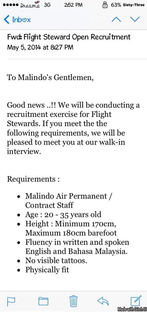 #MalindoAir Flight steward recruitment, Oasis Square Ara Damansara. 7, 8 & 9 May 2014. Meaning, esok last walk in Tq http://t.co/n3brkAccWa