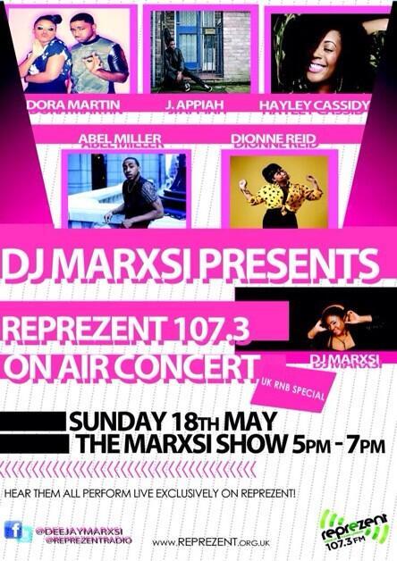 YAAAS @weareDoraMartin @JAppiahMusic @AbelMiller @Hayley_Cassidy &@DionneReid All performing LIVE! On @ReprezentRadio http://t.co/soukldjkzV