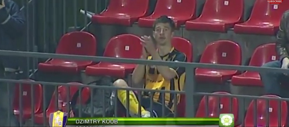 Brilliant celebration! Trakai player scores then heads to the stands to applaud himself!!!
