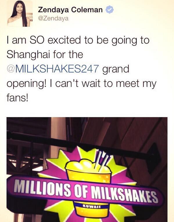 #Exclusive @Zendaya will be walking the #MillionsOfMilkshakes #Shanghai #RedCarpet #May28th http://t.co/BbihKvuF9E http://t.co/L40TYIj5wt