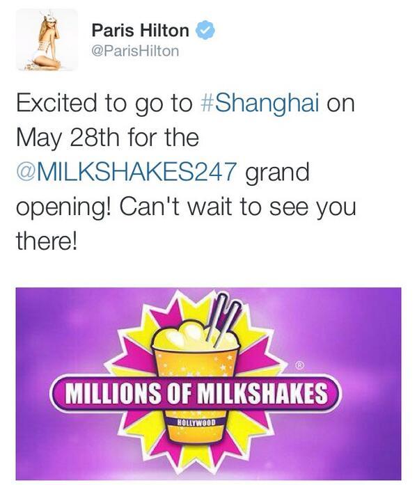 #Exclusive @ParisHilton will be walking the #MillionsOfMilkshakes #Shanghai #RedCarpet #May28th #ParisHilton http://t.co/9nyR9L1ntr