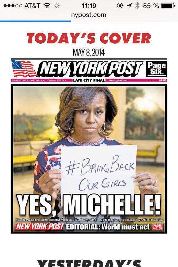 Le #BringBackOurGirls à la une du @nytimes et du @nypost http://t.co/swIGFWA2W4