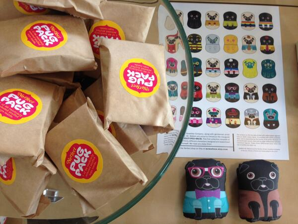 Pug Packs by local artist Nerfect are now here!  Handmade and blind bagged mini pugs! http://t.co/jq4UAa4LKk http://t.co/uRNk85EKWA