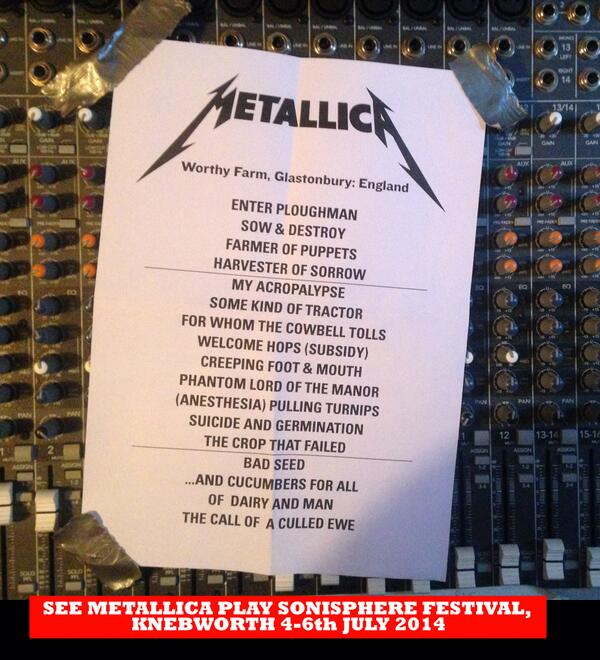 So we have had a sneaky peak at the #Glastonbury #Metallica set... http://t.co/I4j7JrBoyx