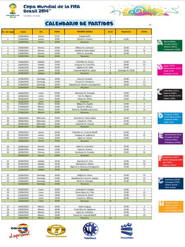 CALENDARIO DE TRANSMISIONES COPA MUNDIAL DE LA FIFA BRASIL 2014 / TELEVISION GUATEMALTECA. HOJA 1 de 2 @Canales3y7 http://t.co/9ItiB3f7sP