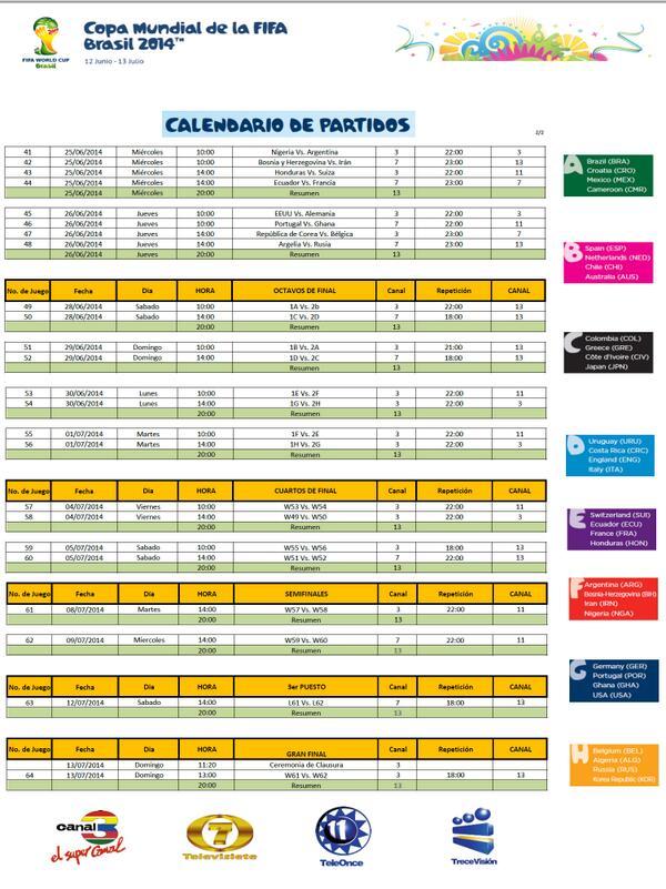 CALENDARIO DE TRANSMISIONES COPA MUNDIAL DE LA FIFA BRASIL 2014 / TELEVISION GUATEMALTECA. HOJA 2 de 2 @Canales3y7 http://t.co/jXHwUTtiN6