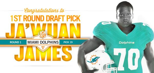 Welcome To The Club! @JawuanJames70 is the 45th #VFL selected in the 1st Round by the @MiamiDolphins (19th overall) http://t.co/tupFL4ZTnz