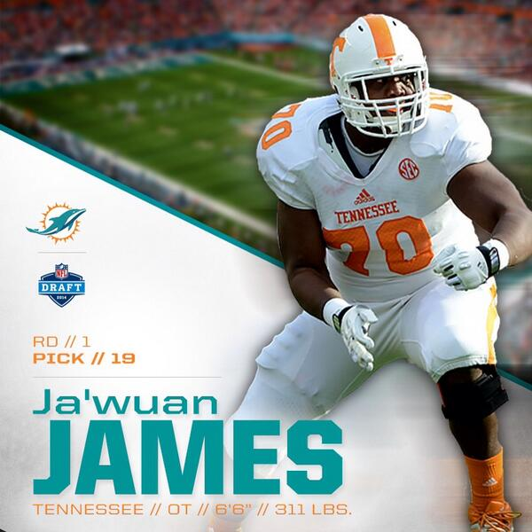 Please welcome OT Ja'Wuan James to Miami!!    #FinsUp #NFLDraft http://t.co/6QZ01Bimmn