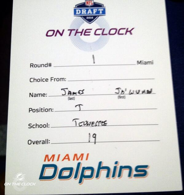 The draft card that made OT Ja'Wuan James a Miami Dolphin.   #FinsUp #NFLDraft http://t.co/bNFFJcAajw