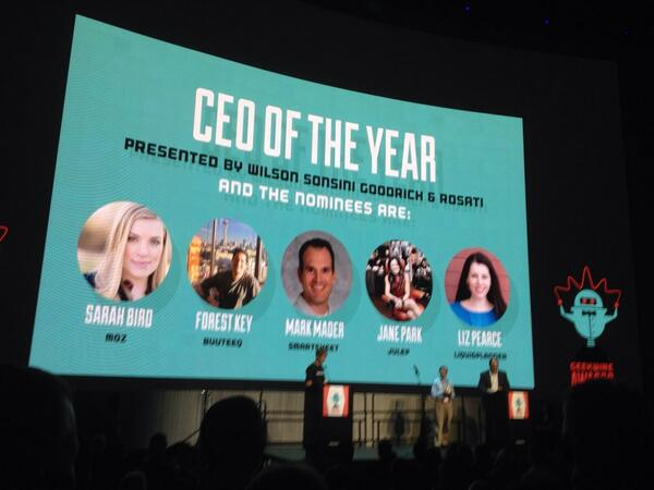 3! Yes, 3 women nominated for CEO of the year! Jane Park of Julep wins! #gwawards http://t.co/RusbQU8W4D